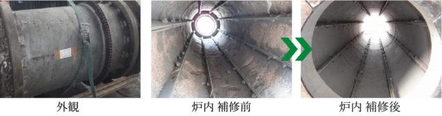 耐火材のライニング例、左から耐火材外観、炉内補修前、炉内補修後